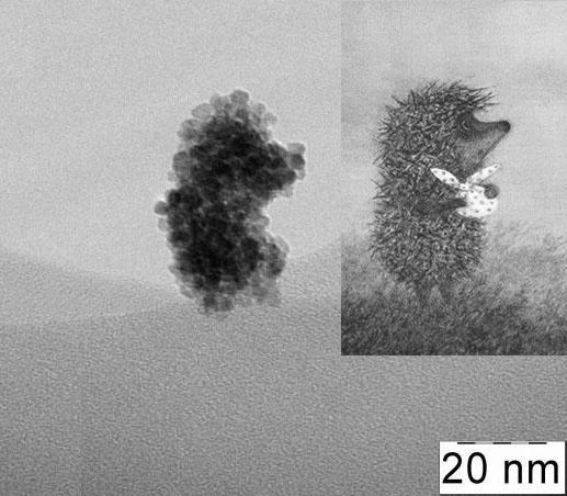 Агрегат наночастиц диоксида церия, не примечательный ничем, кроме формы =) (и размеров индивидуальных частиц)